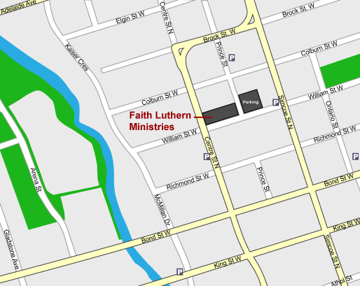 Locational map of Faith Lutheran Ministries